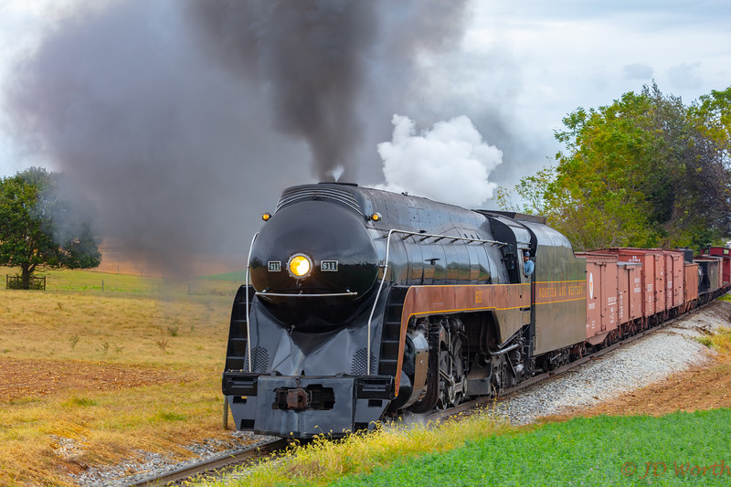Strasburg RR - 611 382 Sunset Lerro Photo 5DsR Shoot - 611 Run By Rt Wedge Smoke Steam Close-7229.jpg