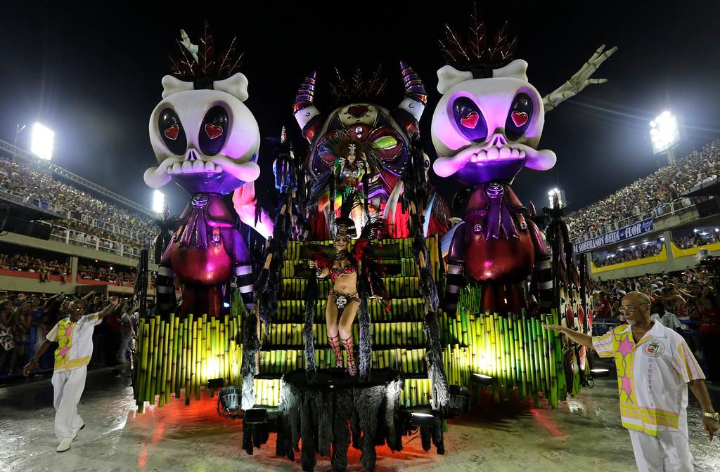 . Performers from the Academicos do Grande Rio samba school parade on a float during Carnival celebrations at the Sambadrome in Rio de Janeiro, Brazil, Monday, Feb. 27, 2017. (AP Photo/Silvia Izquierdo)