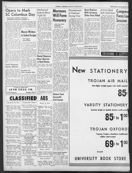 Daily Trojan, Vol. 32, No. 9, September 25, 1940