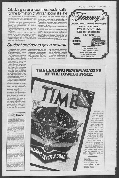Daily Trojan, Vol. 88, No. 13, February 22, 1980
