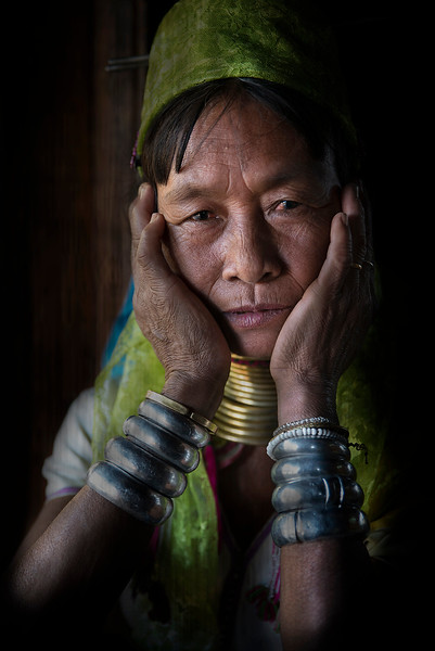 Portrait of a woman from the Kayan tribe.  Kayah State, Myanmar, 2017.