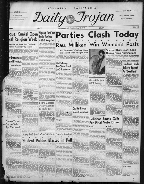 Daily Trojan, Vol. 38, No. 133, May 13, 1947