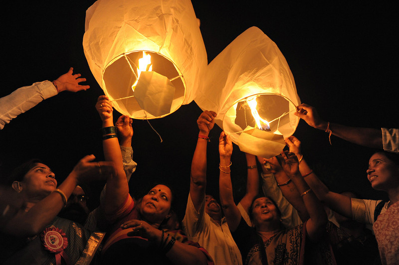 . All India Peace and Solidarity Organisation (AIPSO) members launch sky lanterns during International Women\'s Day in Hyderabad on March 8, 2013. International Women\'s Day is marked on March 8 every year.  NOAH SEELAM/AFP/Getty Images