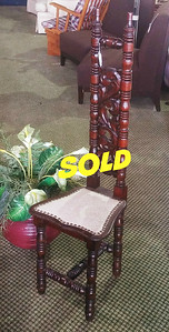 Tall Back Spindle Leg Chair