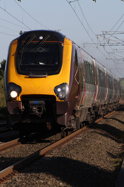 221132 on a Northbound CrossCountry service approaching West Goswick Farm LC