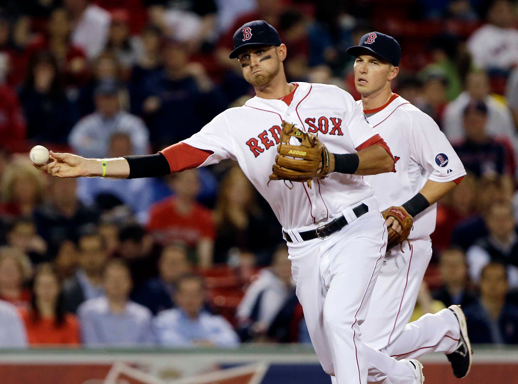 . Boston Red Sox third baseman Will Middlebrooks throws to first to get Minnesota Twins\' Trevor Plouffe on a grounder while shortstop Stephen Drew, right, watches during the fourth inning of a baseball game at Fenway Park in Boston, Tuesday, May 7, 2013. (AP Photo/Elise Amendola)