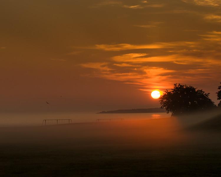Morning ground fog at Fort Williams Park in Cape Elizabeth, Maine.