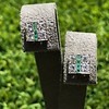 Art Deco Diamond and Emerald Disc Earrings 22