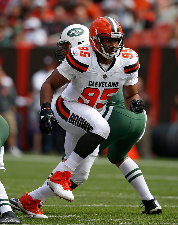 . Cleveland Browns defensive end Myles Garrett runs toward New York Jets quarterback Josh McCown during the first half of an NFL football game, Sunday, Oct. 8, 2017, in Cleveland. (AP Photo/Ron Schwane)
