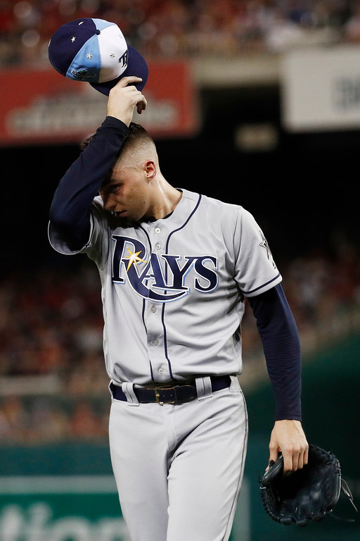 . Tampa Bay Rays pitcher Blake Snell (4) walks off the field after the third inning during the Major League Baseball All-star Game, Tuesday, July 17, 2018 in Washington. (AP Photo/Patrick Semansky)