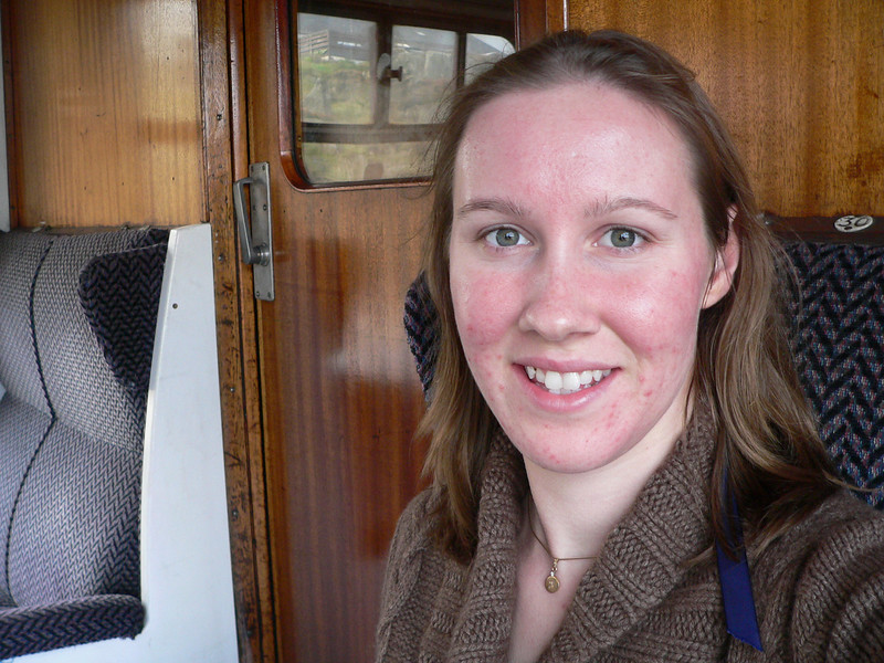 I am no longer at the very back, but instead at the very front of the train for the journey back to Fort William.
