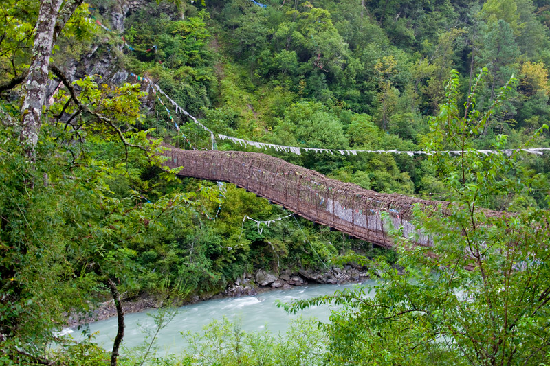 Suspension bridge made of plant root. Shot taken on the way from Cheng Do to Lhasa, Tibet  2011.