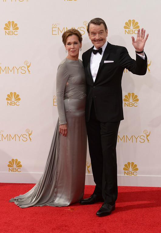 . Robin Dearden and Bryan Cranston on the red carpet at the 66th Primetime Emmy Awards show at the Nokia Theatre in Los Angeles, California on Monday August 25, 2014. (Photo by John McCoy / Los Angeles Daily News)