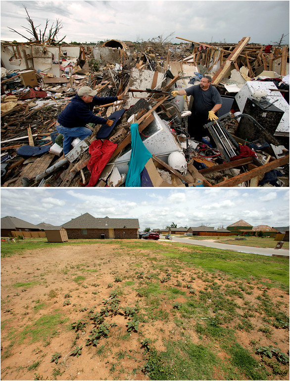 . In this photo combination, Dalton Sprading, right, hands a gun to his uncle Roger Craft as he salvages items from his tornado-ravaged home in Moore, Okla., May 21, 2013, top, and the site remains empty while other houses rise in the background on May 8, 2014, bottom. (AP Photo/Charlie Riedel)