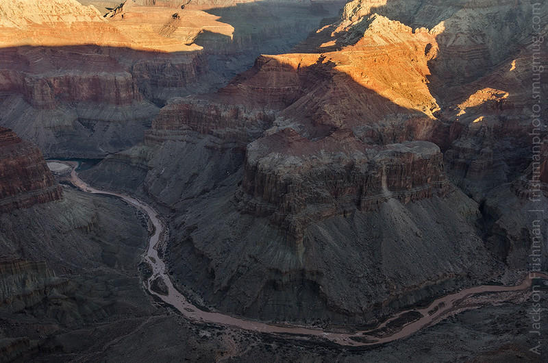 The Little Colorado meets the main river at sunrise, Grand Canyon, February 2012.