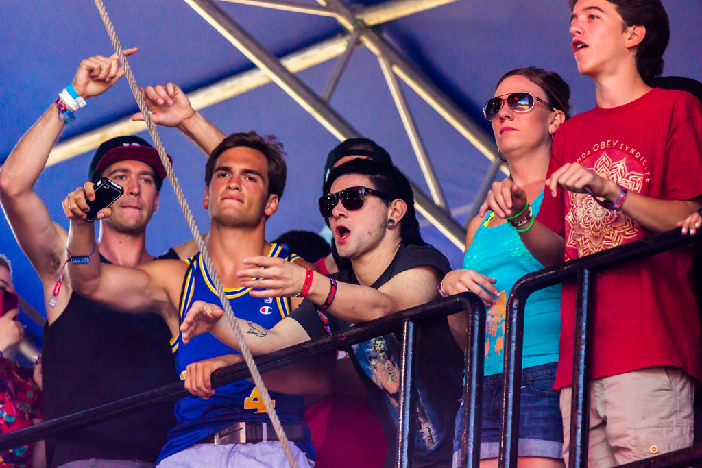 . Famed DJ Skrillex was spotted in the rafters of the Perry\'s stage, hanging with fans and enjoying the other artist.