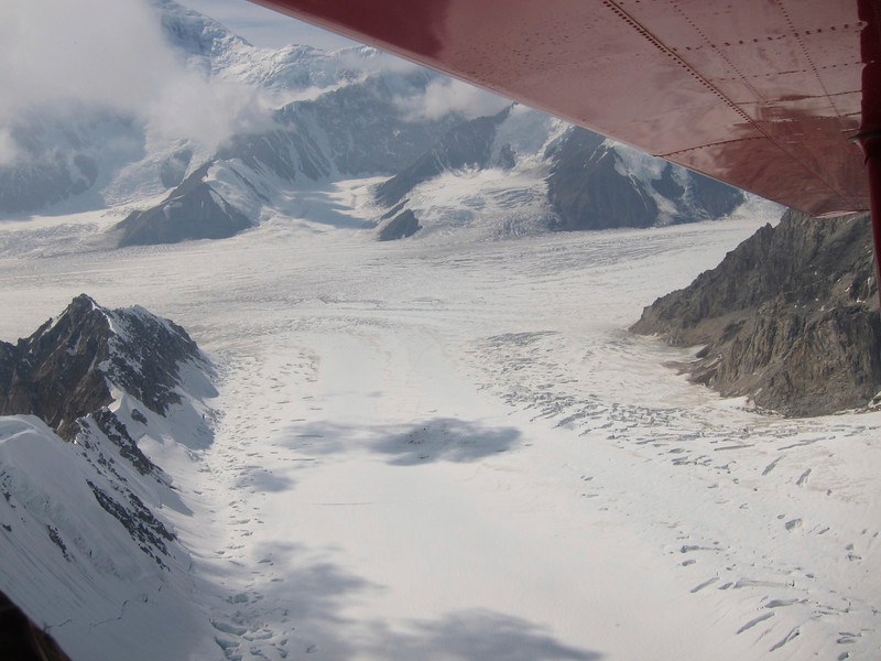 """Below is our """"airport"""": Kahiltna glacier Southeast fork. Our Base Camp (BC) is in shadow in the middle of the picture."""