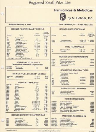 1969 Price List