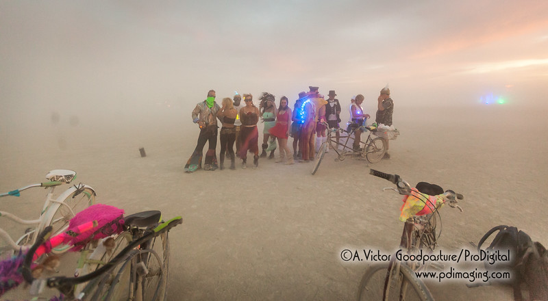 The dust storm kicks up just as the wedding ceremony ends.