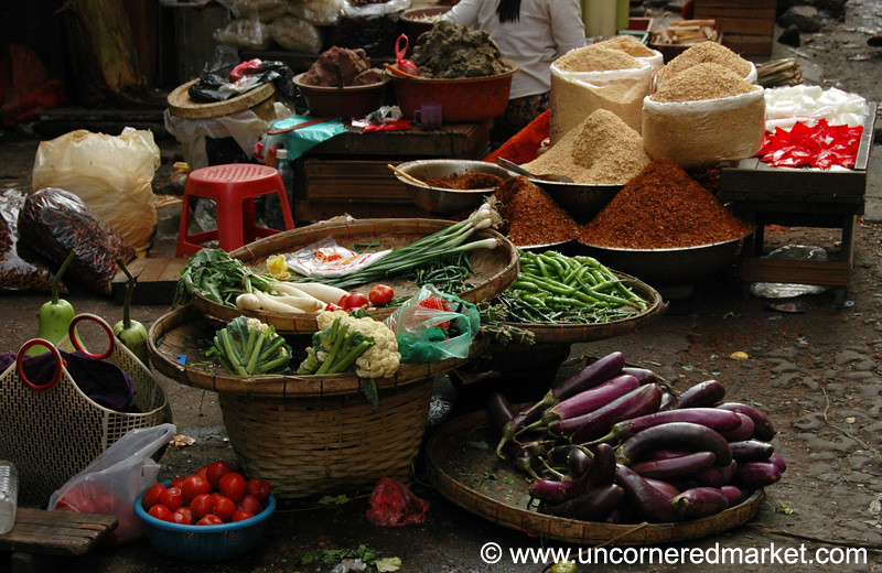 Vegetable Market Scene - Rangoon, Burma (Yangon, Myanmar)