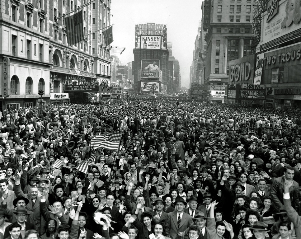 . Looking north from 44th Street, New York\'s Times Square is packed Monday, May 7, 1945, with crowds celebrating the news of Germany\'s unconditional surrender in World War II.  (AP Photo/Tom Fitzsimmons)