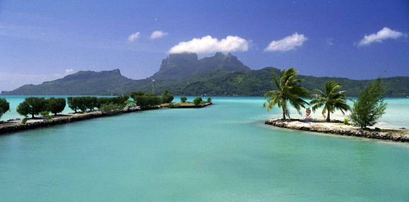 View of Bora Bora from the landing strip
