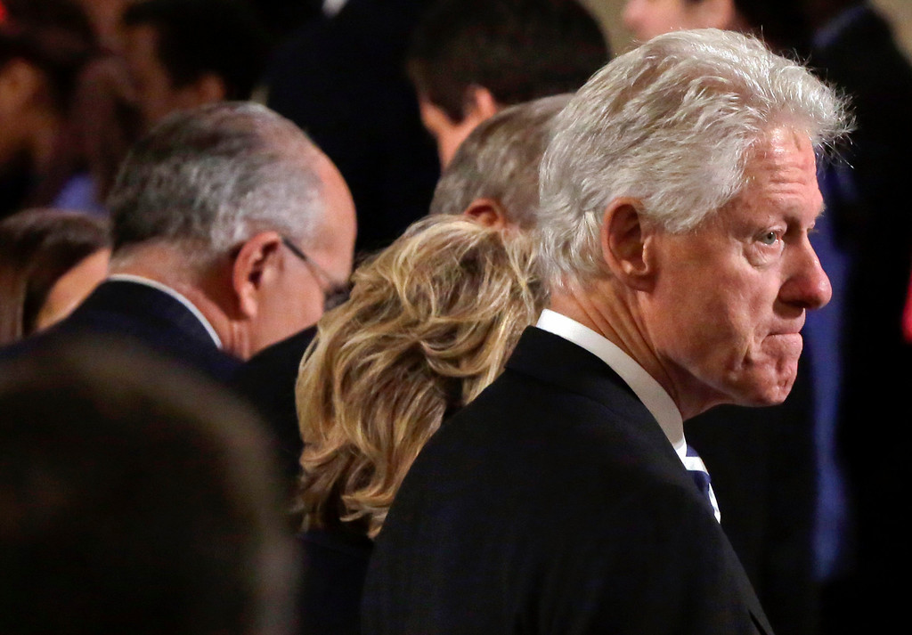 . Former President Bill Clinton attends the dedication ceremony in Foundation Hall, of the National September 11 Memorial Museum, in New York, Thursday, May 15, 2014. (AP Photo/Richard Drew, Pool)