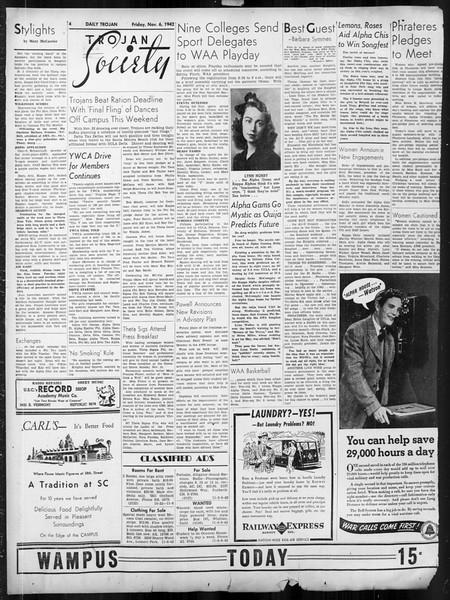 Daily Trojan, Vol. 34, No. 35, November 06, 1942