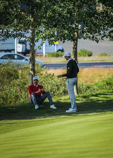 Haraldur Franklín og Axel Bóasson.  Íslandsmót í golfi 2019 - Grafarholt 2. keppnisdagur Mynd: seth@golf.is