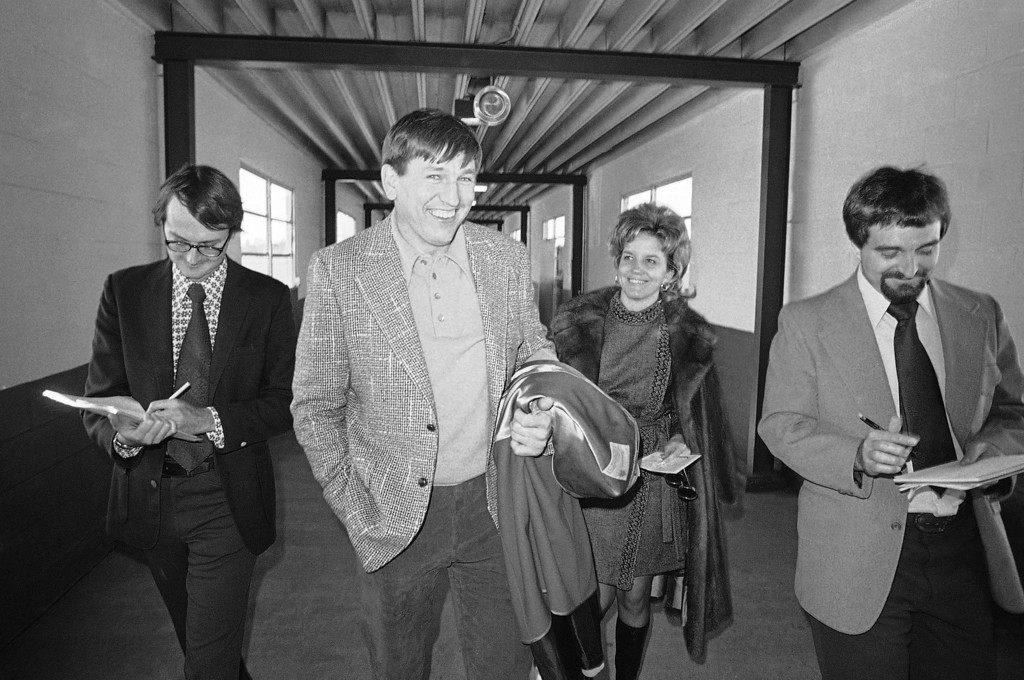 . Baltimore Quarterback John Unitas has a wide smile for photographers at the Tallahassee airport on Jan. 23, 1973. Unitas was traded by the Colts to San Diego. The trade ended an outstanding 17-year career for the 39-year old Unitas. (AP Photo/Bill Hudson)