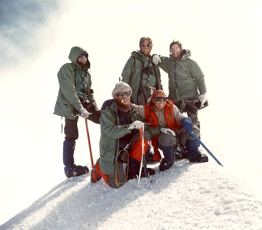 . Rick Trujillo 1977a-- At the Denali Summit, 20,320 ft. elev.-- Rick Trujillo, Craig Renkert, Doug Cannalte, Jane Constatino, Ken Zaffrin_ 6Jun1977 Photo provided by Rick Trujillo