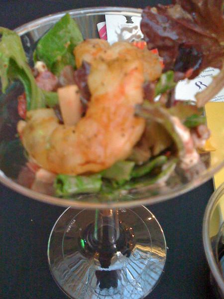 Strawberry & Shrimp Martini w/Greens in Vinagrette