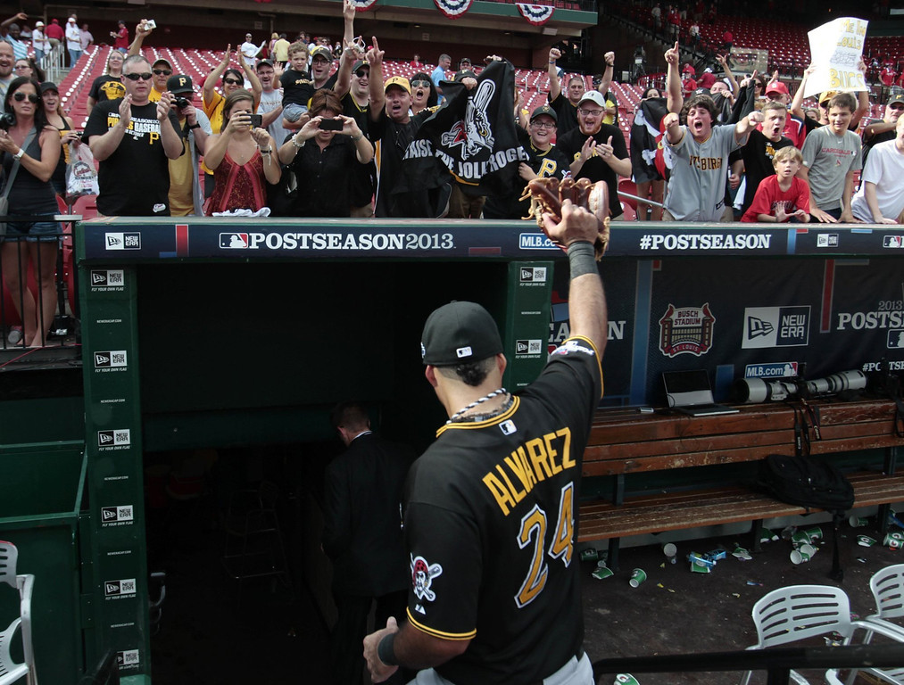 . The Pittsburgh Pirates\' Pedro Alvarez gets cheers from Pirates fans following a 7-1 victory over the St. Louis Cardinals in Game 2 of the National League Divisional Series at Busch Stadium in St. Louis, Missouri, Friday, October 4, 2013. (Zia Nizami/Belleville News-Democrat/MCT)