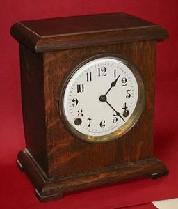 Arthur Pequegnat Oak Mantel Clock, Made in Canada