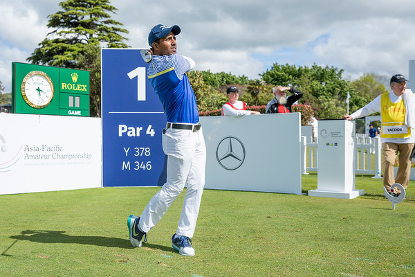 Md Akbar Hossain from Bangladesh hitting off the 1st tee on Day 1 of competition in the Asia-Pacific Amateur Championship tournament 2017 held at Royal Wellington Golf Club, in Heretaunga, Upper Hutt, New Zealand from 26 - 29 October 2017. Copyright John Mathews 2017.   www.megasportmedia.co.nz