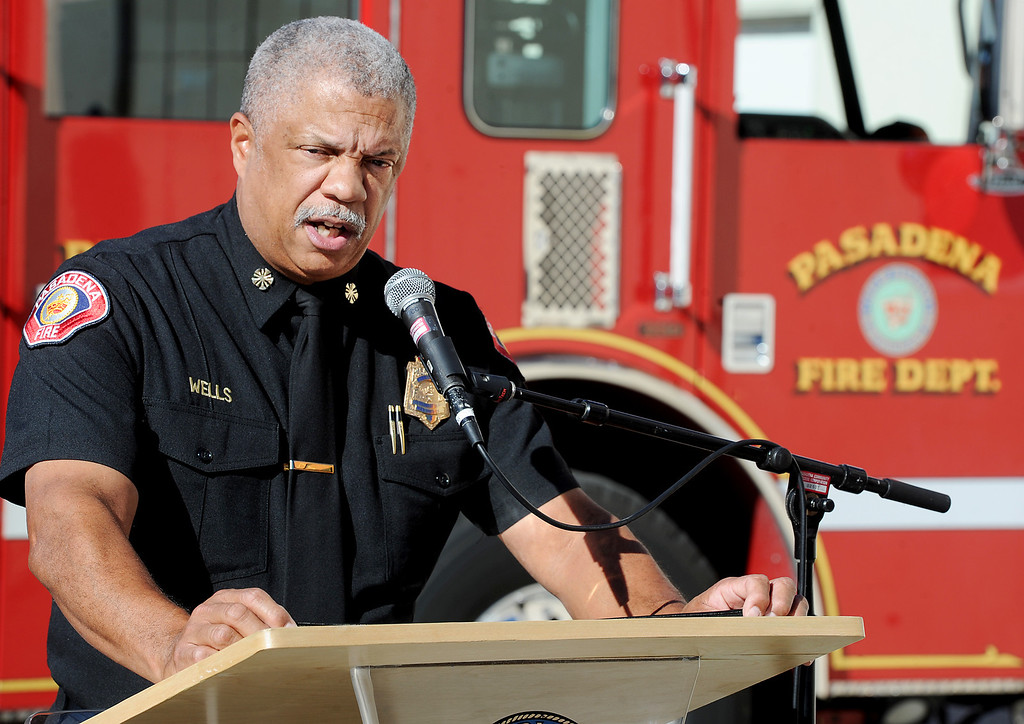 . Pasadena Fire Chief Calvin Wells, discussing safety tips for the holidays, at Fire Station 33 in Pasadena Monday, November 25, 2013. (Photo by Walt Mancini/Pasadena Star-News.)