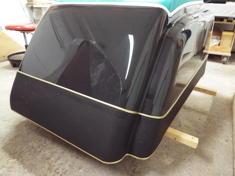 Rear starboard view of the completed engine box with all new anodized aluminum trim.