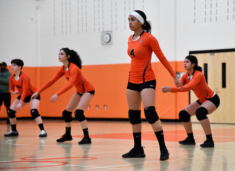 10/18/2019 Mike Orazzi | Staff Goodwin Tech's Adaneysi Guzman (4) during Friday night's girls volleyball match with Terryville in Terryville.