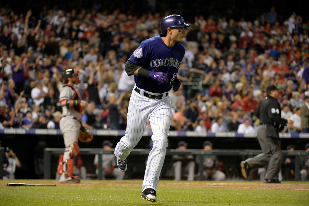 . DENVER, CO. - SEPTEMBER 24: Troy Tulowitzki (2) of the Colorado Rockies rounds first base after hitting a home run in the third inning agains the Boston Red Sox September 24, 2013 at Coors Field. (Photo by John Leyba/The Denver Post)