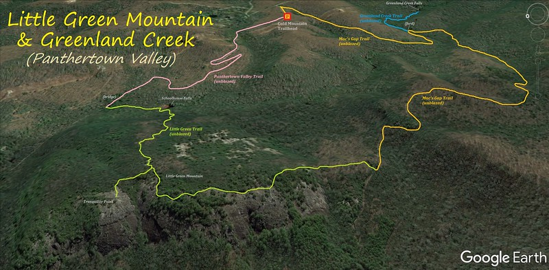 Little Green Mountain/Greenland Creek Loop Hike Route Map