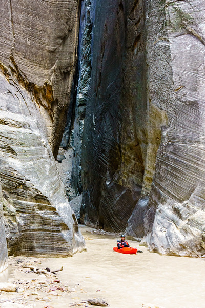 Eric Jones floats through the gates of the upper North Fork of the Virgin that open up into the confluence with Deep Creek.