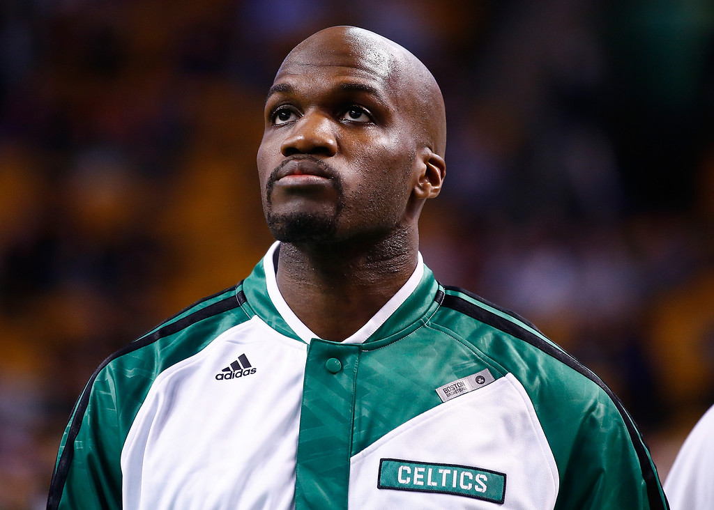 . BOSTON, MA - JANUARY 17: Newly acquired Joel Anthony #50 of the Boston Celtics warms up prior to the game against the Los Angeles Lakers at TD Garden on January 17, 2014 in Boston, Massachusetts.  (Photo by Jared Wickerham/Getty Images)