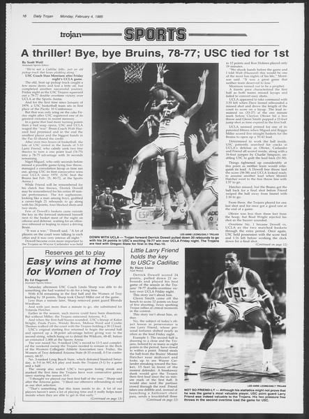 Daily Trojan, Vol. 98, No. 17, February 04, 1985