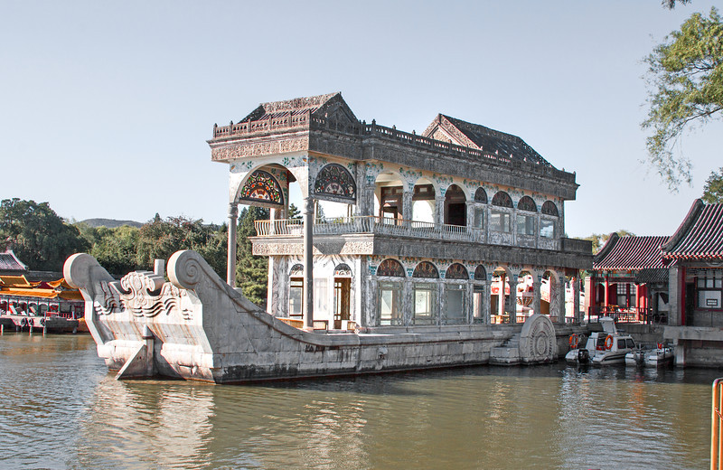 Original concrete boat at the Summer Palace, Beijing, China