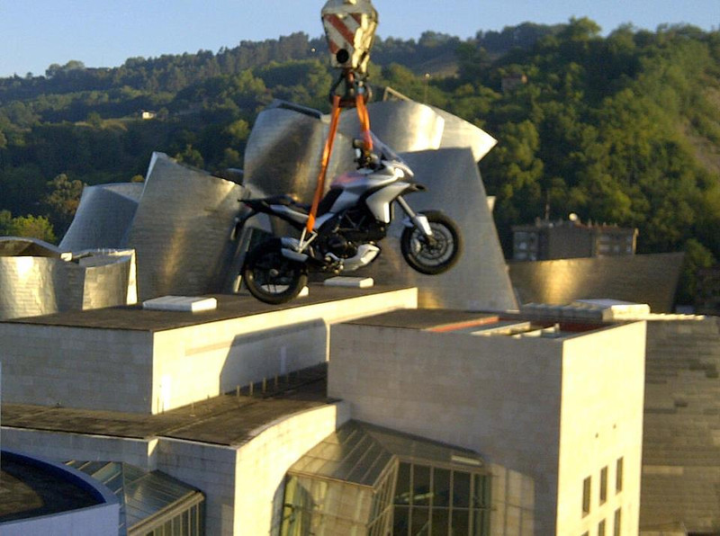 Preparation for the press launch of the new Multistrada 1200 range for 2013 in Bilbao, 20 Sep 2012. Skyhook suspension.....the new Multistrada is so advanced it can fly!!