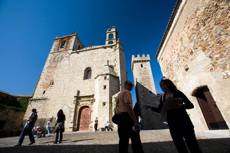 San Mateo church and the Tower of the Storks on the background, Caceres, Spain