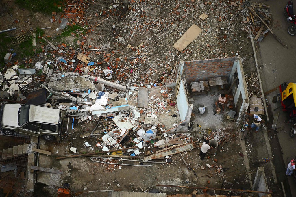 . Aerial view of Pedernales, Ecuador on May 16, 2016, a month after a 7.8 magnitude earthquake rocked the city. A total of 660 people are known to have died in the strong earthquake that hit Ecuador on April 16, 2016. / AFP PHOTO / RODRIGO BUENDIA/AFP/Getty Images