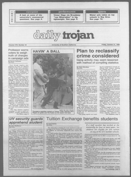 Daily Trojan, Vol. 107, No. 33, October 21, 1988