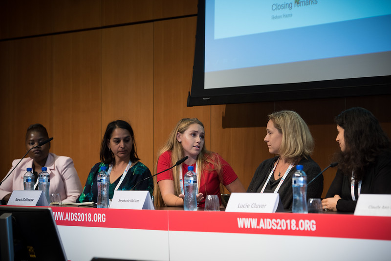 22nd International AIDS Conference (AIDS 2018) Amsterdam, Netherlands   Copyright: Marcus Rose/IAS  Photo shows: The 4th HIV Exposed Uninfected (HEU) Child and Adolescent Workshop. Panel discussion. L-R: Clara Banya, International Community of Women Living with HIV (ICW), Malawi. Anurita Bains, Kenya.  Claude Ann Mellins, Columbia University, United States. Alexis Galloway, United States. Stephanie McCann, United States. Lucie Cluver, Oxford University, United Kingdom.