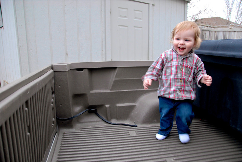 2011/3/18 – I put Olin in the back of my truck not sure how he would react. It was like we had just given him a cool new toy. He was so excited.